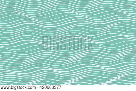 Blue And White Warped Wavy Stripes Background. Vector Pattern For Design