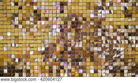 Background Of Many Small Cubes, Cells Of Golden Shiny Color. Beautiful Shiny Iridescent Background O