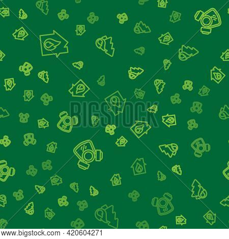 Set Line Fire In Burning House, Gas Mask And Burning Forest Tree On Seamless Pattern. Vector