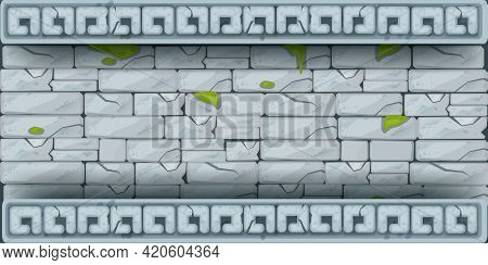 Ancient Temple Stone Vector Wall, Rock Texture Background, Game Ui Cracked Old Border, Mobile App Ti