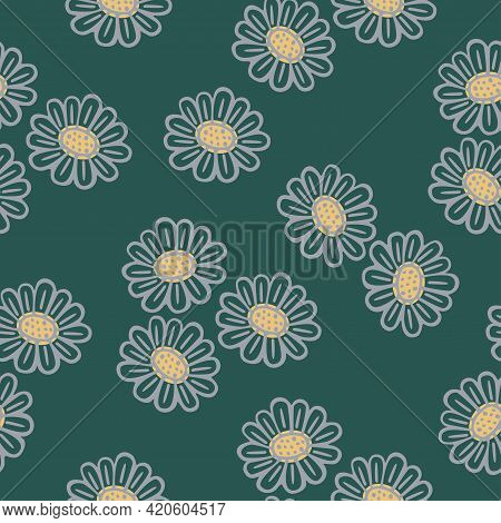 Seamless Background With Hand-drawn Floral Pattern. Chamomile. It Can Be Used For Decoration Of Text