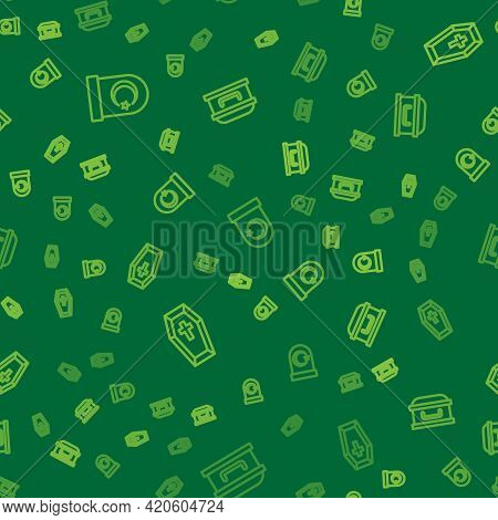 Set Line Muslim Cemetery, Coffin With Cross And On Seamless Pattern. Vector