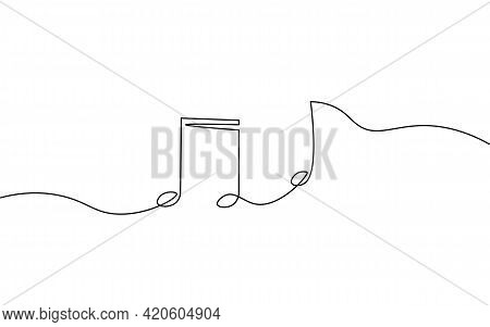 Single Continuous Line Art Music Library Like. Learning Listen Apps Musical Symbol Note Online. Desi