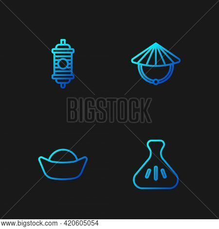 Set Line Dumpling, Sushi, Chinese Paper Lantern And Conical Straw Hat. Gradient Color Icons. Vector