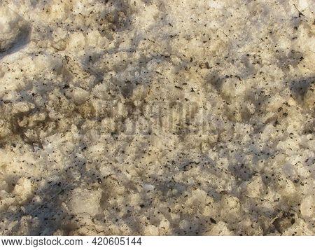 Background: Muddy Wet Brown Spring Melting Snow