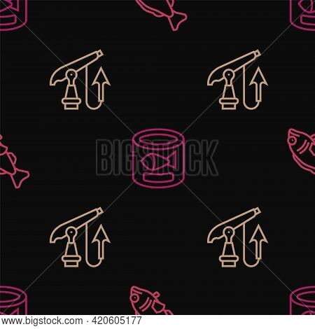 Set Line Fish, Fishing Harpoon And Canned Fish On Seamless Pattern. Vector