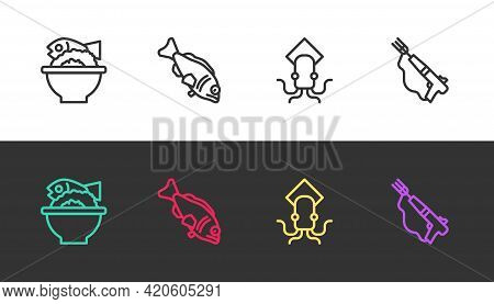 Set Line Served Fish On A Bowl, Fish, Octopus And Fishing Harpoon On Black And White. Vector