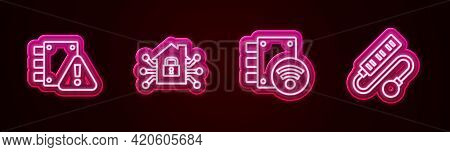 Set Line House Under Protection, Smart Home, Digital Door Lock And Electric Extension Cord. Glowing