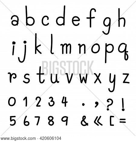 Handwriting English Font Text Lettering Shows All Sign, Symbol, And Alphabet In Calligraphic Doodle