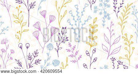 Field Flower Twigs Botanical Vector Seamless Pattern. Ornate Floral Fabric Print. Meadow Plants Foli
