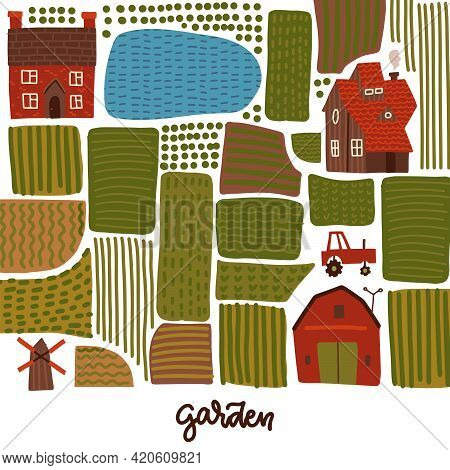 Garden, Agriculture And Farm Square Banner Concept. Village Landscape Map With Fields, Lake, Houses