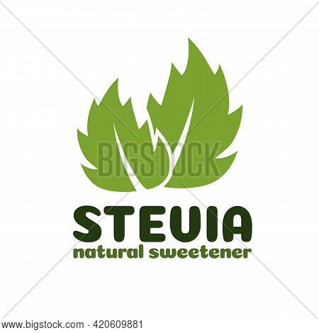 Vector Green Stevia Leaves Label. Natural Organic Stevia Sweetener Substitute Isolated On White Back