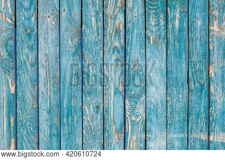 A Blue-green Wooden Fence With A Pronounced Knotty Texture And A Rough Surface, With Cracked Blue-gr