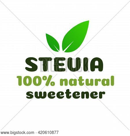 Stevia Leaves Symbol Natural Sweetener Substitute Isolated On White Background. Organic Stevia Icon