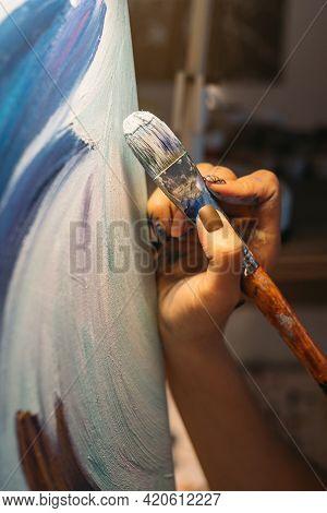 Art School. Creative Hobby. Skill Talent Inspiration. Female Artist Hand Painting Blue White Abstrac