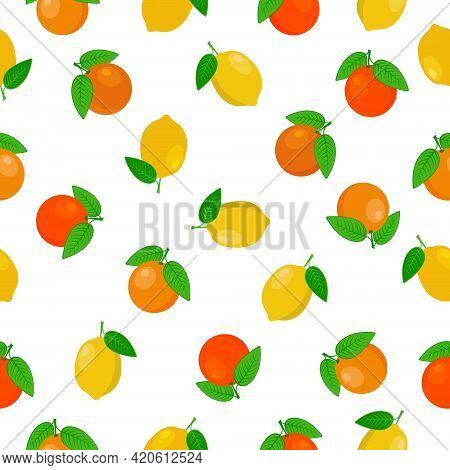 Citrus Lemon Orange Bright Summer Seamless Pattern Featuring Ripe Yellow Lemons And Orange Oranges W