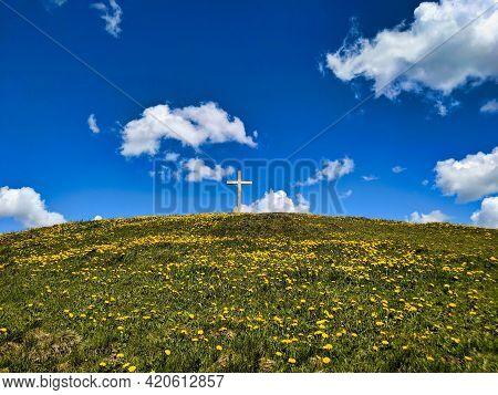 Summit Cross On The Beautiful Grass Hill Huettchopf In Zurich Oberland Switzerland. Wallpaper. Copy