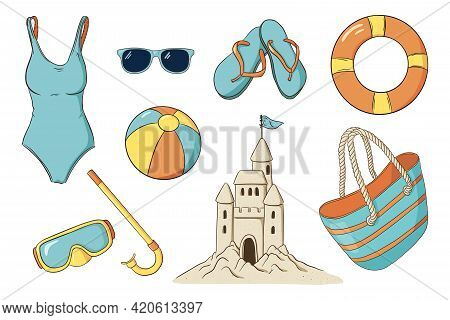 Hand Drawn Summer Beach Leisure Isolated Items Collection. Snorkel Goggles, Swimsuit, Swimming Ring,
