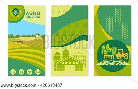A Set Of Banners With The Concept Of Agriculture, Crop Production, And Farming. Vector Illustrations