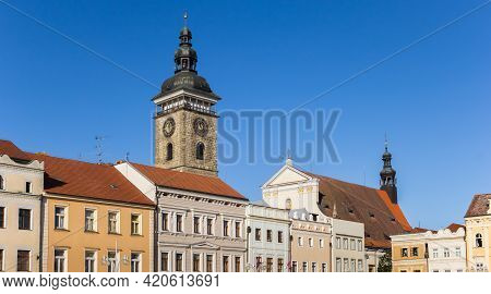 Old Houses And Black Tower In Ceske Budejovice, Czech Republic