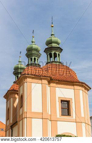 Towers Of The Chapel In Historic City Ceske Budejovice, Czech Republic