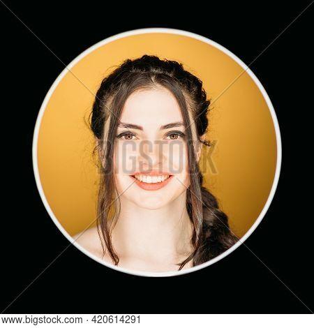 Happy Woman. Headshot Portrait. Positive Emotion. Enthusiastic Confident Smiling Brunette Girl Face