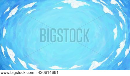 Hand Drawn Simple Primitive Drawing Background, Rounded Panorama Of Blue Sky With White Clouds. Hand