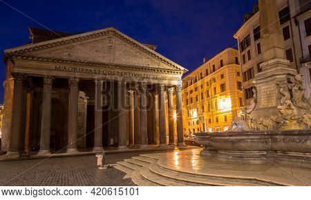 Rome, Italy - Circa August 2020: Illuminated Pantheon By Night. One Of The Most Famous Historic Land