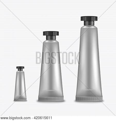Vector 3d Realistic Plastic, Metal Metallic Silver Tooth Paste, Cream Tube, Packing Set Isolated On