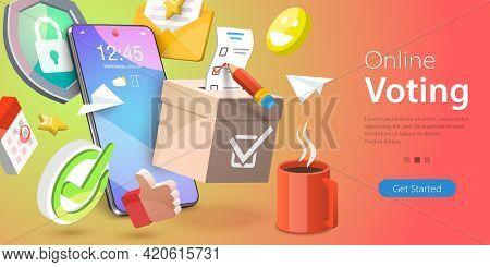 3d Vector Conceptual Illustration Of Online Voting, E-voting, Digital Mobile Survey