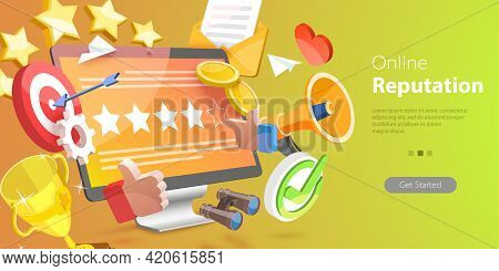 3d Vector Conceptual Illustration Of Online Reputation Management, Improving Customer Loyalty Strate