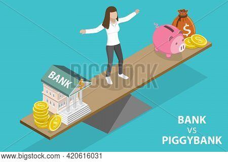 3d Isometric Flat Vector Conceptual Illustration Of Choosing Between Bank Accont And Piggybank