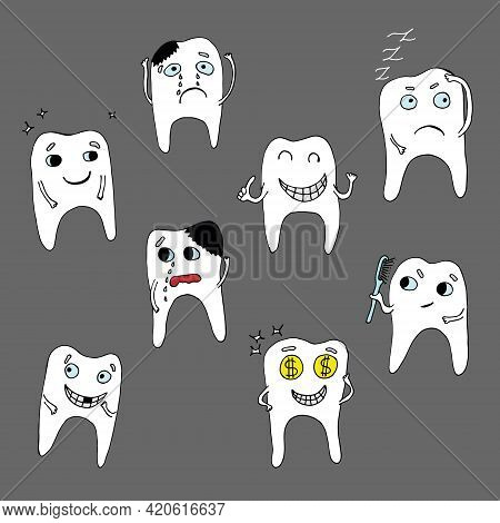 Set Of Vector Characters Of Teeth With Different Emotions, Teeth With Caries And Without Caries, Cry