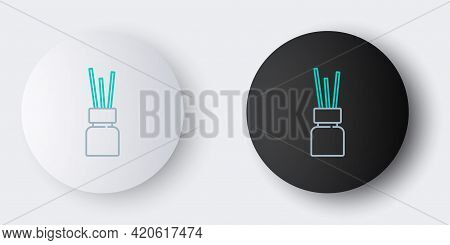 Line Aroma Diffuser Icon Isolated On Grey Background. Glass Jar Different With Wooden Aroma Sticks.