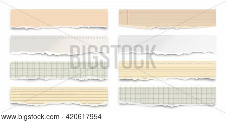 Ripped Colorful Paper Strips Isolated On White Background. Realistic Crumpled Paper Scraps With Torn