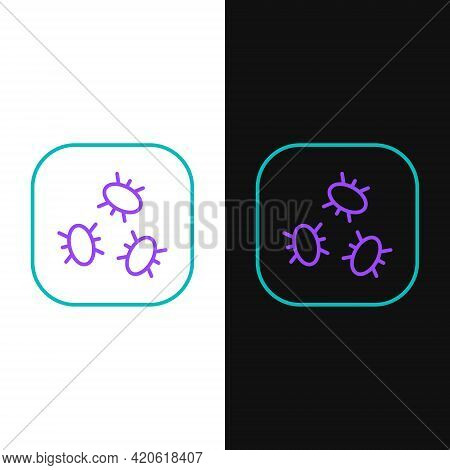 Line Bacteria Icon Isolated On White And Black Background. Bacteria And Germs, Microorganism Disease