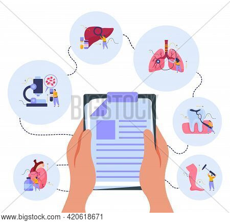 Health Checkup Composition With Medicine And Treatment Symbols Flat Vector Illustration