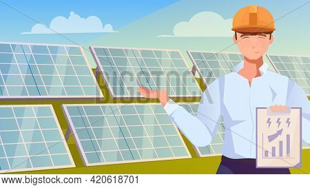 Solar Farm Flat Background With Worker Character Indicating Rows Of Solar Panels Installed In Field
