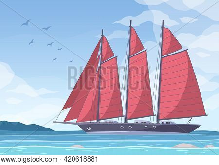 Yachting Cartoon Composition With Marine Landscape Clear Sky With Birds And Big Yacht With Red Sails