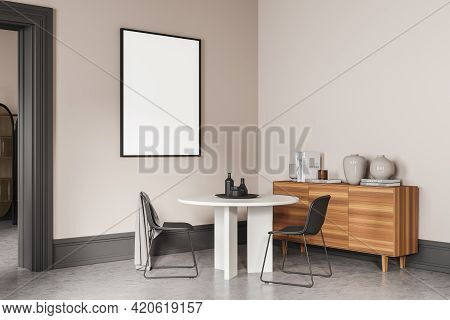 Beige Living Room With Two Chairs And White Round Table, Art Room With Commode On Concrete Floor, Si