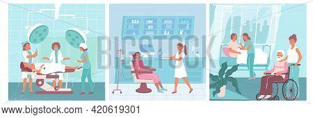 Three Nurse Flat Icon Set Nurses Assist Doctors And Help Patients In The Hospital Vector Illustratio
