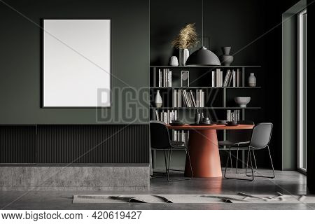 Green Living Room With Grey Chairs With Red Dining Table, Library With Books And Decoration With Fir