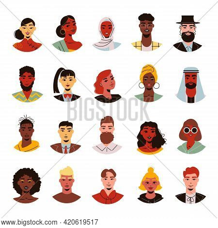 Nationality People Faces Set With Isolated Doodle Style Avatars Of People With Different Hairstyle S