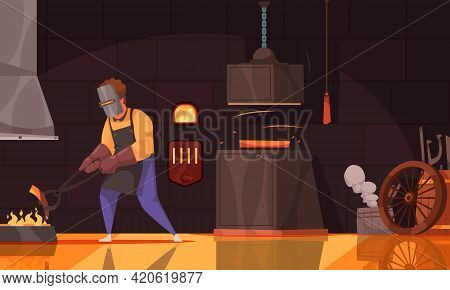 Blacksmith Wearing Leather Apron Gloves And Face Shield Heating Iron Piece In Coal Fire Cartoon Vect