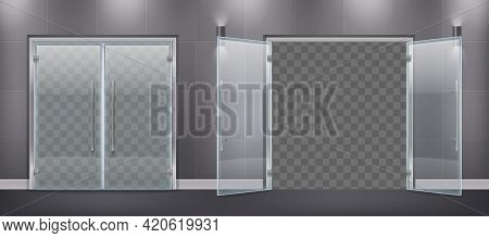 Glass Door Entrance Realistic Composition With Closed And Open Door Leaves With Metal Handles And Si