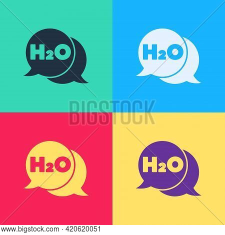 Pop Art Chemical Formula For Water Drops H2o Shaped Icon Isolated On Color Background. Vector