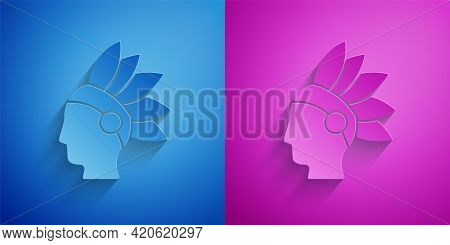 Paper Cut Native American Indian Icon Isolated On Blue And Purple Background. Paper Art Style. Vecto