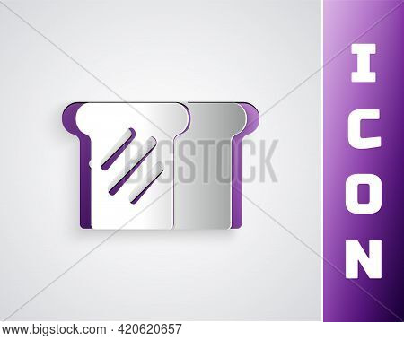 Paper Cut Bread Toast For Sandwich Piece Of Roasted Crouton Icon Isolated On Grey Background. Lunch,