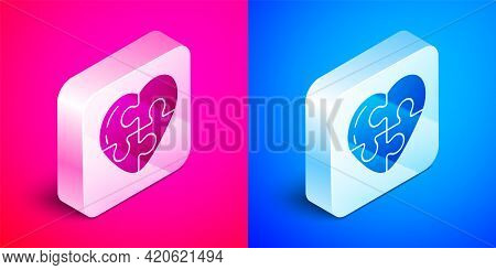 Isometric Heart Icon Isolated On Pink And Blue Background. Romantic Symbol Linked, Join, Passion And