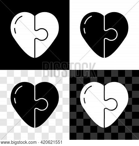 Set Heart Icon Isolated On Black And White, Transparent Background. Romantic Symbol Linked, Join, Pa